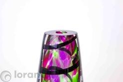 glasobject vaas kleur met zwarte spiraal